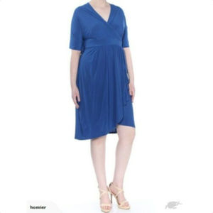LOVE SQUARED Womens Blue Short Sleeve Dress